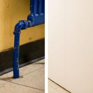 voor en na renovatie school- verf vervangen door polyesterwand