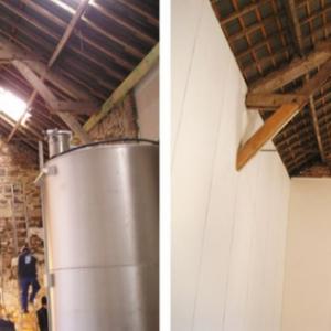 voor en na renovatie- schuur wordt champagnekelder