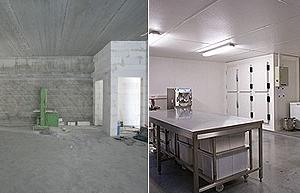 voor en na van nieuwbouw artisanaal roomijs atelier