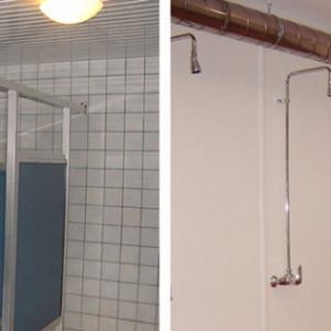 voor en na renovatie douchelokalen